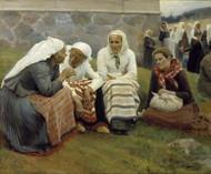 Women Outside the Church at Ruokolahti 1887 by Albert Edelfelt Framed Print on Canvas