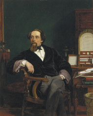 Charles Dickens in his Study 1859 by William Powell Frith Framed Print on Canvas
