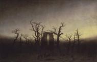 Abbey among Oak Trees 1809 by Caspar David Friedric Framed Print on Canvas