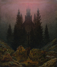 Cross and cathedral in the mountains 1812 by Caspar David Friedric Framed Print on Canvas