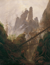 Rocky ravine in the Elbe Sandstone Mountains 1822 by Caspar David Friedric Framed Print on Canvas