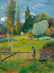Peasant and his dog near a fence 1894 by Paul Gauguin Framed Print on Canvas