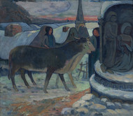 Christmas Night The Blessing of the Oxen 1902 by Paul Gauguin Framed Print on Canvas