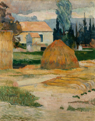 Landscape near Arles 1888 by Paul Gauguin Framed Print on Canvas