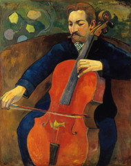 The Violoncellist Schneklud 1894 by Paul Gauguin Framed Print on Canvas