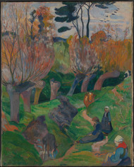 Brittany Landscape with cows 1889 by Paul Gauguin Framed Print on Canvas