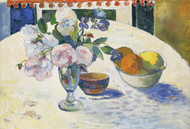 Flowers and a Bowl of Fruit on a Table 1894 by Paul Gauguin Framed Print on Canvas