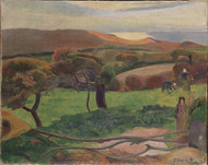 Landscape from Bretagne 1889 by Paul Gauguin Framed Print on Canvas