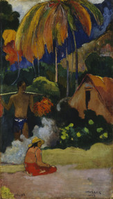 Landscape in Tahiti 1892 by Paul Gauguin Framed Print on Canvas