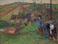 Landscape of Brittany 1888 by Paul Gauguin Framed Print on Canvas