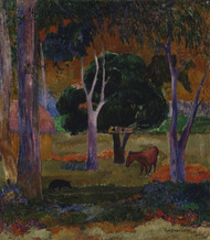 Landscape with a Pig and a Horse 1903 by Paul Gauguin Framed Print on Canvas