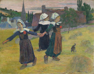 Breton Girls Dancing, Pont-Aven 1888 by Paul Gauguin Framed Print on Canvas