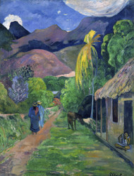 Street in Tahiti 1891 by Paul Gauguin Framed Print on Canvas