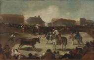 Bullfights in a Pueblo 1812 by Francisco Goya Framed Print on Canvas