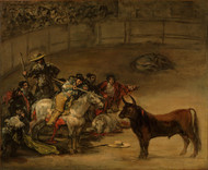 Bullfight, Luck of rods 1824 by Francisco Goya Framed Print on Canvas