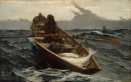 The Fog Warning / Halibut Fishing 1885 by Winslow Homer Framed Print on Canvas
