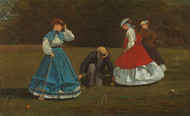 Croquet Scene 1866 by Winslow Homer Framed Print on Canvas