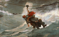 The Life Line 1884 by Winslow Homer Framed Print on Canvas
