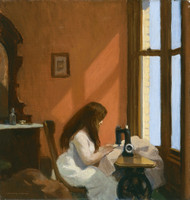 Girl at a Sewing Machine 1921 by Edward Hopper Framed Print on Canvas