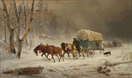 Going Home - Pioneers Braving a Storm 1878 by William Hahn Framed Print on Canvas