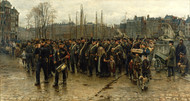 Transport of colonial soldiers 1883 by Isaac Israels Framed Print on Canvas