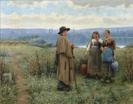 An idle moment 1890 by Daniel Ridgway Knight Framed Print on Canvas