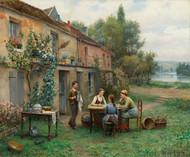 Coffee in the garden by Daniel Ridgway Knight Framed Print on Canvas