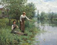 Two Women Fishing by Daniel Ridgway Knight Framed Print on Canvas