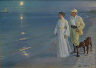 Summer Evening at Skagen beach. The artist and his wife 1899 by Peder Severin Kroyer Framed Print on Canvas