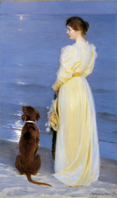 Summer Evening at Skagen. The Artist's Wife and Dog by Peder Severin Kroyer Framed Print on Canvas