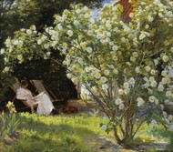 Roses. Marie Kroyer seated in the deckchair in the garden by Peder Severin Kroyer Framed Print on Canvas