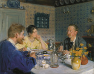 A luncheon. The artist, his wife and the writer Otto Benzon 1893 by Peder Severin Kroyer Framed Print on Canvas