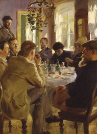 Artists' luncheon at Brondum's Hotel 1883 by Peder Severin Kroyer Framed Print on Canvas