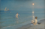 Boys Bathing at Skagen. Summer Evening 1899 by Peder Severin Kroyer Framed Print on Canvas