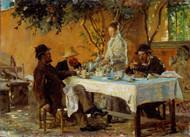 Breakfast in Sora 1880 by Peder Severin Kroyer Framed Print on Canvas