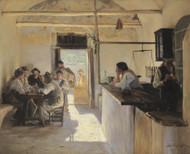 Osteria in Ravello 1890 by Peder Severin Kroyer Framed Print on Canvas