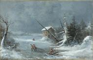 The Blizzard 1860 by Cornelius David Krieghoff Framed Print on Canvas