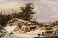 Settler's Log House 1856 by Cornelius David Krieghoff Framed Print on Canvas