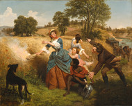 Mrs. Schuyler Burning Her Wheat Fields on the Approach of the British 1852 by Emanuel Leutze Framed Print on Canvas
