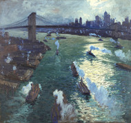 Path of gold - Brooklyn Bridge 1914 by Jonas Lie Framed Print on Canvas
