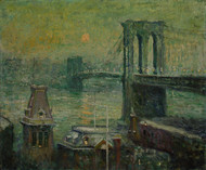The Brooklyn Bridge 1917 by Ernest Lawson Framed Print on Canvas
