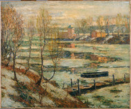 Ice in the River 1907 by Ernest Lawson Framed Print on Canvas