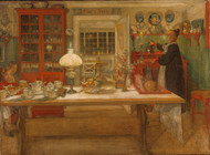 Getting Ready for a Game 1901 by Carl Larsson Framed Print on Canvas
