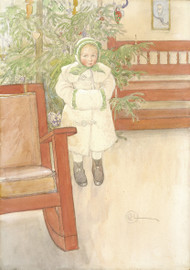 Girl and rocking chair 1907 by Carl Larsson Framed Print on Canvas