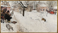 Open-Air Painter. Winter-Motif from Åsogatan 145, Stockholm 1886 by Carl Larsson Framed Print on Canvas