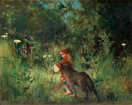 Little Red Riding Hood and the Wolf in the forest 1881 by Carl Larsson Framed Print on Canvas