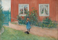 Brita, a cat and a sandwich 1898 by Carl Larsson Framed Print on Canvas