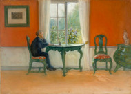 Conditions are read by Carl Larsson Framed Print on Canvas