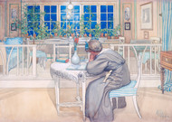 The Night before the trip to England 1909 by Carl Larsson Framed Print on Canvas