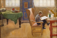 Esbjorn at the Study Corner 1912 by Carl Larsson Framed Print on Canvas